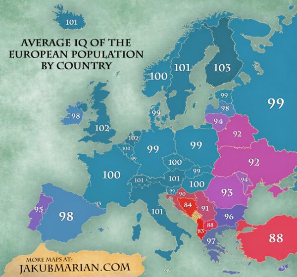 Avropanın IQ xəritəsi açıqlanıb.